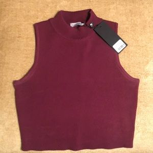 LF Maroon Cropped Mock turtleneck